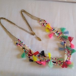 Plunder Boho Tassel Bright Colorful Necklace